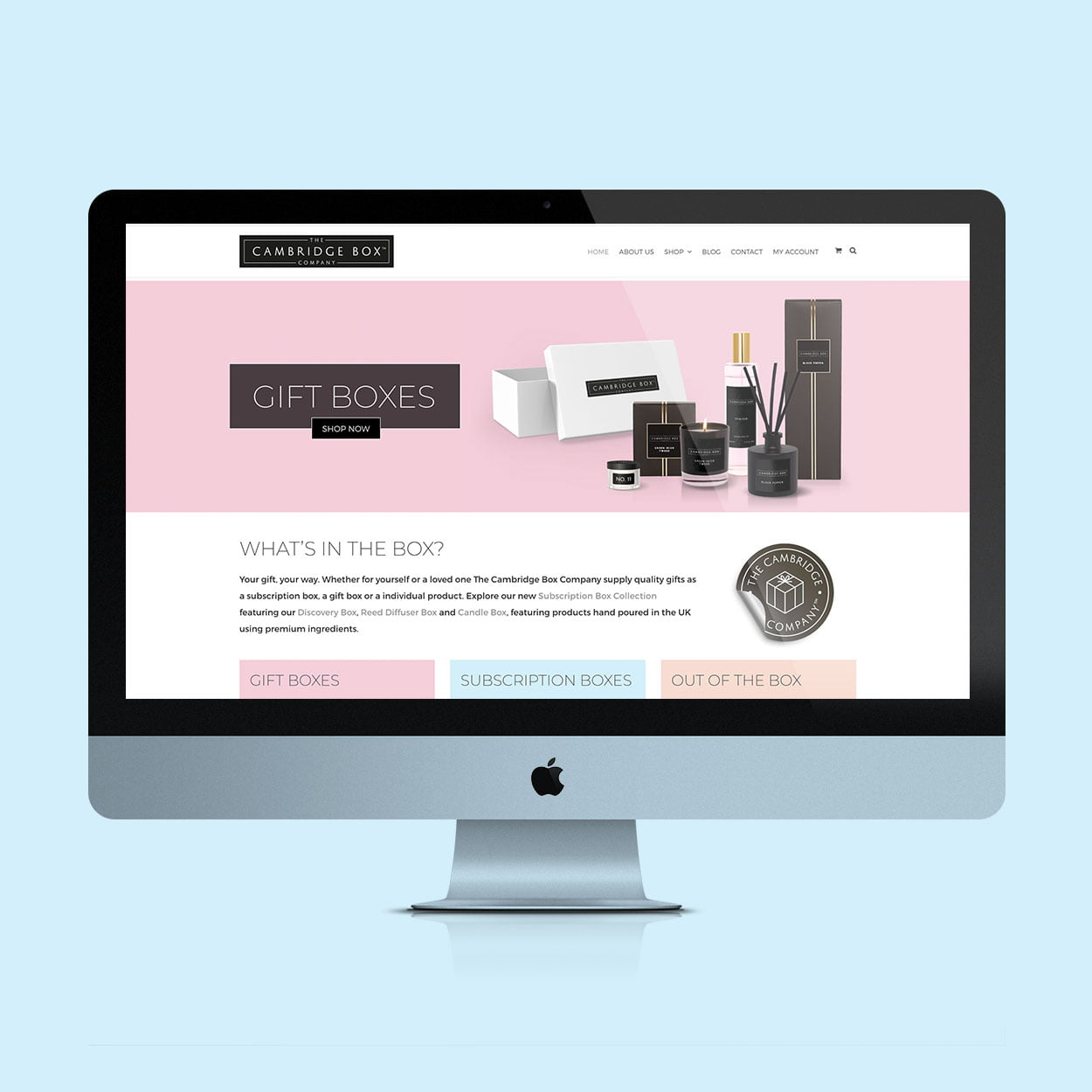 The Cambridge Box Company website design